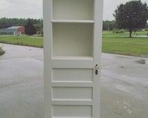 Repurposed Door, Hutch, Display Hutch, Book Shelf, Antique Door, Vintage Door with Glass Door Knobs, White Furniture, White Door