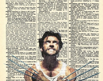 Wolverine - Marvel Comic Inspired Vintage Dictionary Page Art Print