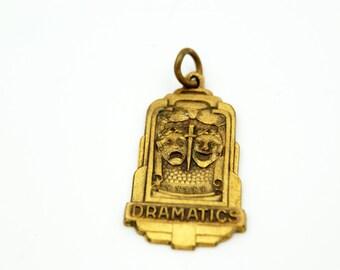 Art Deco Charm, Drama Club Dramatics, Balfour High School Charm Pendant, Old School, Greek Muses Thalia and Melpomene, Comedy and Tragedy