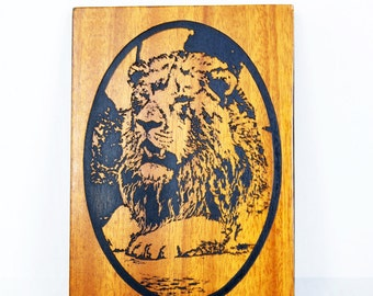 Lion Plaque Laser Cut Wood Art  Johannesburg Africa, Lion Art Gift Idea Lion Lover, African Art, Jungle Cat, Big Cat, King of the Jungle