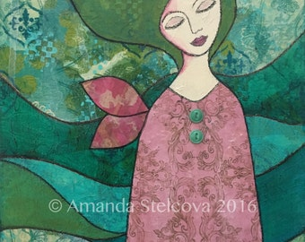MIXED MEDIA COLLAGE 'Dreaming' ~ original artwork by Amanda Stelcova