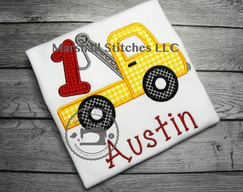 Boy's Tow Truck Applique Birthday shirt/ Tow Truck Applique Birthday Shirt/ Tow Truck Birthday Shirt/ Tow Truck Party Shirt