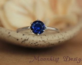 Size 8 - Ready To Ship - Blue Sapphire Solitaire Ring In Sterling Silver - Engagement Ring - September Birthstone - Gift For Her