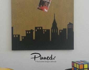 Skyline design pinboard, hand painted cork board, memo board, bulletin board, superhero