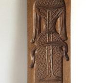 Wooden cookie mold, Woman in dress, beautifully carved, Dutch 'speculaaspop', Sinterklaas