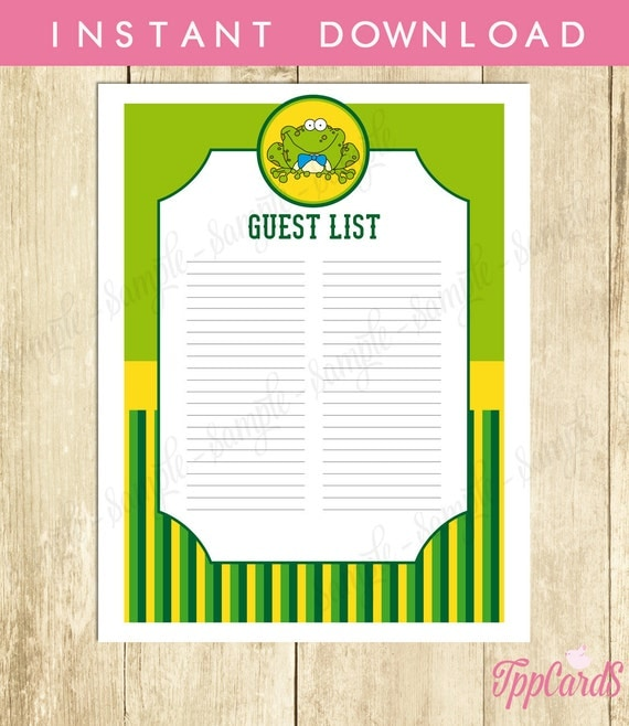 frog baby shower guest list frog baby shower list baby shower sign