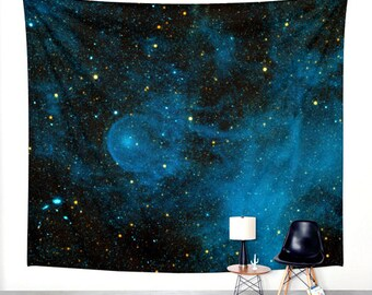 Dreamy Stars Tapestry. Wall Hanging Tapestry. Blue and Black. Wall Decor. Starry Night. Universe. Galaxy Decor.
