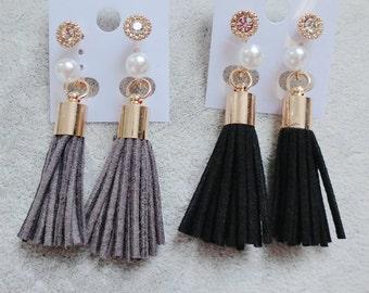 Leather Tassel Earrings, Black & Grey