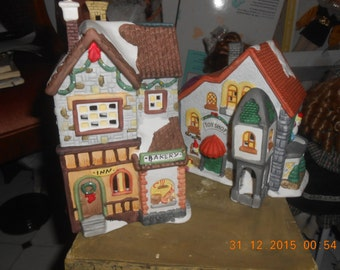 Christmas village Lot of 2 bisque porcelain Toy Shope & Bakery Mint in original box About circa 1989 Collins Co.