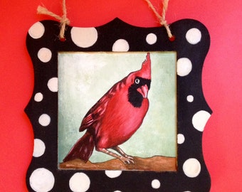 SOLD Hand painted Funky funny Cardinal portrait