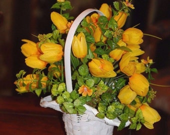 Yellow Silk Flowers In A White Princess Basket