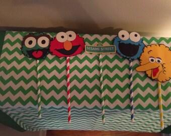 Sesame Street Character Paper Straws