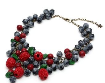 Blueberry, raspberry and cranberry necklace made of polymer clay (realistic wild forest berries crafted into a beautiful piece of jewelry)