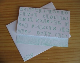"Turquoise ""Best Friends Forever"" Crazy Fonts Card w/Envelope"
