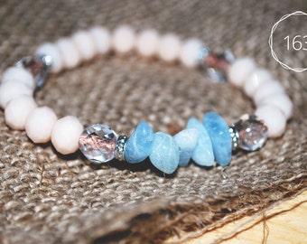 Porcelain beads and aquamarine bracelet