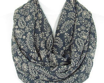 Paisley Scarf Navy Blue Scarf Shawl Boho Infinity Scarf Loop Spring Summer Fall Scarf Women Fashion Accessories Christmas Gift For Her Mom