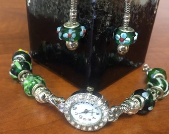 Green Watch and Earrings Set