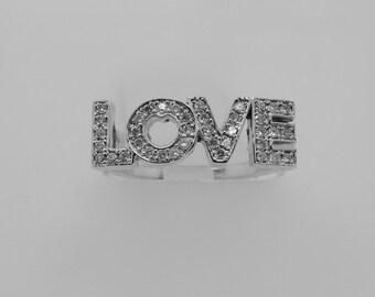 14K White Gold Diamond Love Ring