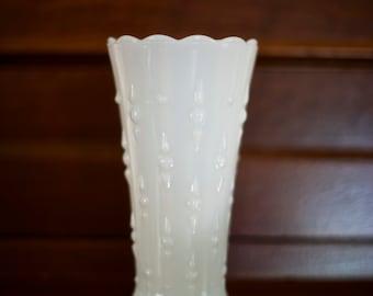 Vintage Milk Glass Vase - Scalloped Edges