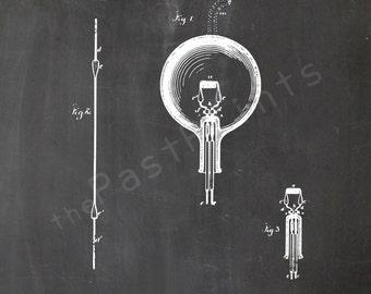 Edison Printable | Thomas Edison Light Bulb | Edison Art | Edison Print | Edison Poster | Patent | Patent Print | Light Bulb | Edison Bulb
