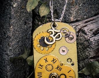 Golden Hear and Gears Steampunk Necklace