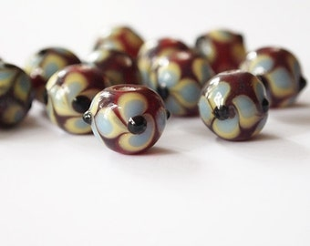8 Lampwork Beads Round Glass Red Blue Yellow Pansy Floral Size 12mm Hole 2.5mm