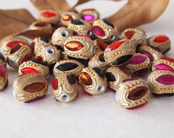 4 Kashmiri Beads Large Oval Handmade Clay Ethnic Beads Ochre Gold Pink Black Size 21 x 18mm Hole 3mm