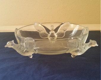 Glass pheasant bowl/pheasant bowl/vintage glass bowl
