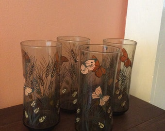 Vintage Butterfly Drink Glasses Brown Smoked Glass 1970s Set of 4 (A613)