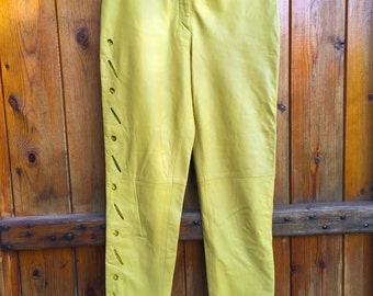 Vintage yellow leather pants-free shipping