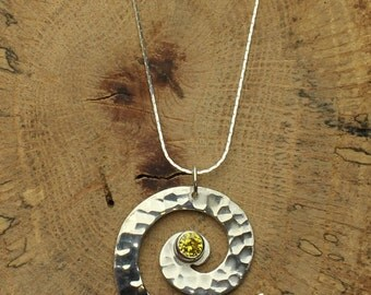 Swirl Silver Necklace Hammered Swirl Pendant in Sterling Silver with Yellow Gemstone