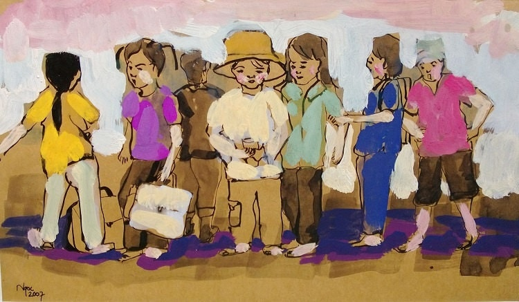 """CAN THO STREETS 14.5x8"""" gouache on paper, live painting, Cần Thơ Province, original by Nguyen Ly Phuong Ngoc"""