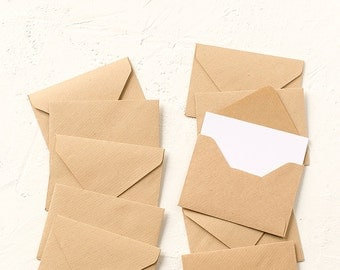 10 Handmade Recycled Brown Kraft Paper Tiny Envelopes with Insert, Wedding, Invitations, Birthday, Party, Gift, Favor Envelope,Business Card