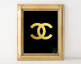 Chanel, chanel logo, coco, cc, gold, print, vintage, fashion print, authentic, wall art, 8x10, printable gold foil