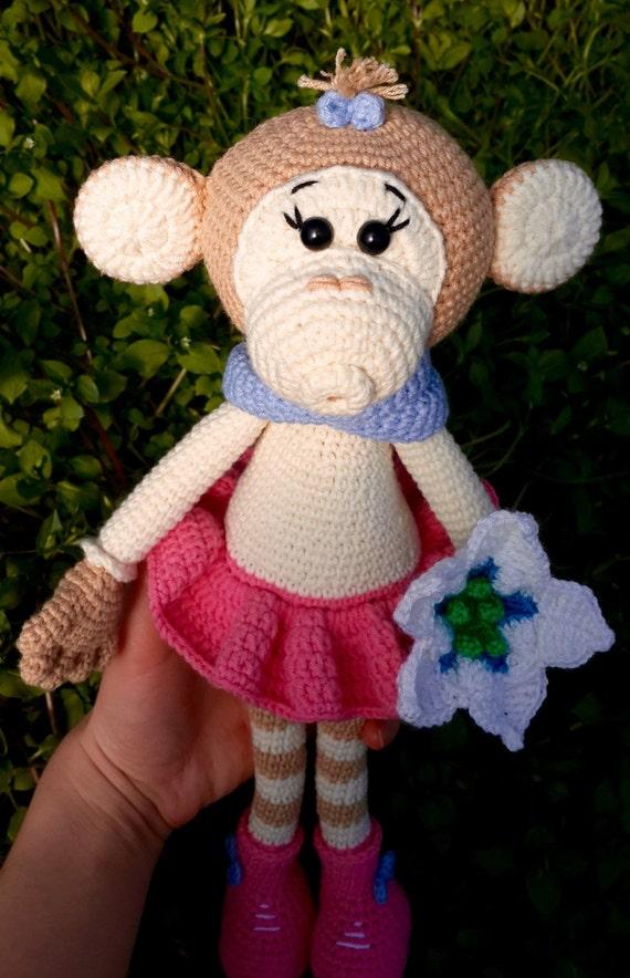 Crochet Doll Animals : Crochet monkey stuffed animal monkey amigurumi doll toy