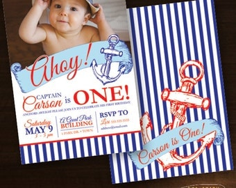 sailor st birthday  etsy, Birthday invitations