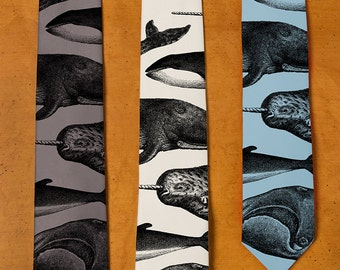 Killer Whale Necktie - Narwhal Print - Men's Necktie - Whale Art - Men's Gift - Humpback Whale Neck Tie  - Screen Printed