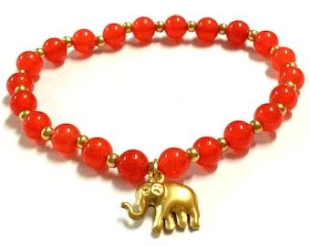 Genuine Red Quartz with Brass Elephant Yoga Mala Bracelet - Natural Spirited Stones Bracelet - Healing Stones Bracelet - Stretch Bracelet