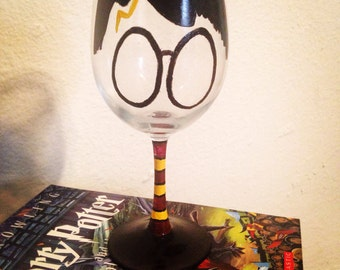 Accio Wine - hand-painted Harry Potter inspired wine glass
