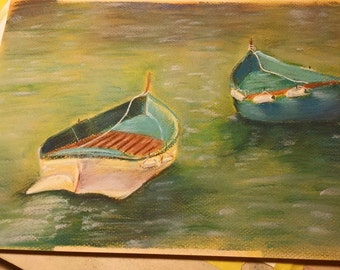Pastel/Chalk Drawing on Paper - Boats on the Water