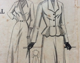 1940s  vintage sewing pattern, women's dress and peplum jacket, Bust 42 Waist 36, Australian Home Journal 8430, Mid Century, 40s retro style
