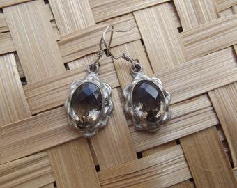 Silver stone earrings, silver smoky quartz earrings, wire earrings, smoky quartz women earrings, indian stone earrings.