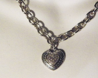 14 Karat ,Sterling Silver Bordeaux With Diamonds Pendant And Chain Combo