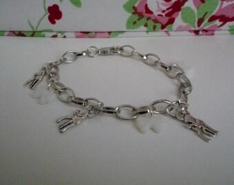 Kawaii white bow and bambi charm bracelet