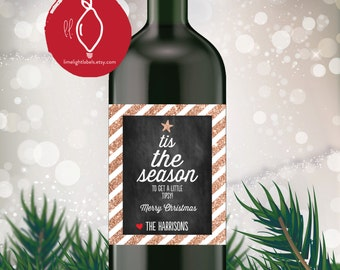 Holiday Wine Label, Christmas Holiday gift wine labels, tis the season wine labels, gift wine labels, style 508 Limelight Labels