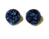 Sparkly blue druzy earrings - nickel free  earrings- metal free earrings- hypoallergenic earrings - peacock druzy earrings - sparkly studs