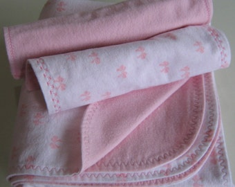 Blanket.  Pink and white, Handmade, reversible Flannel Baby Blanket and Burp Cloth set