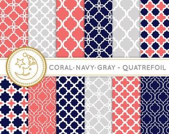Quatrefoil Digital Paper: CORAL, NAVY and GRAY quatrefoil paper pack. Printable pattern paper. Instant download paper.