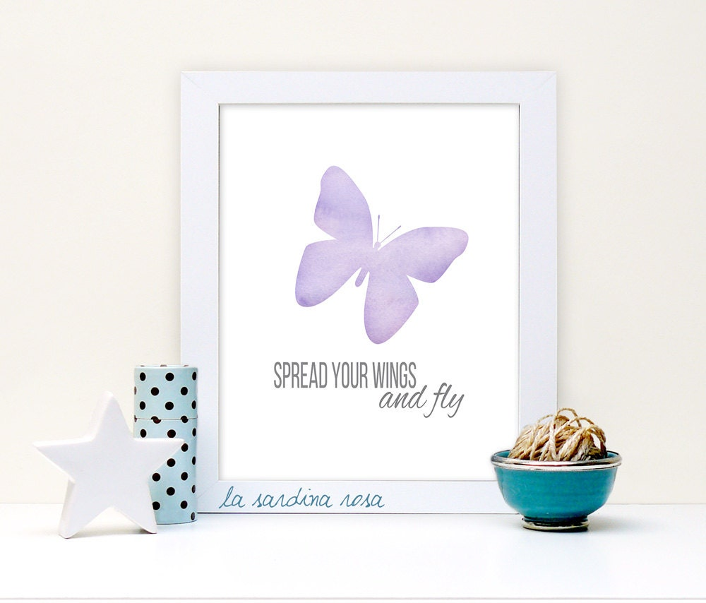 Nursery Wall Decor Butterflies : Butterfly print nursery wall art baby girl decor