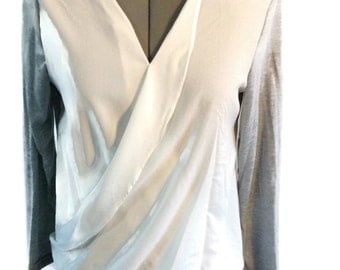 grey top grey blouse white blouse white top overlay blouse grey and white overlay blouse